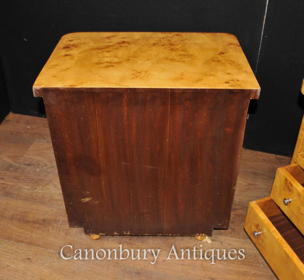 Pair Art Deco Bedside Chests Nighstands Bedroom Furniture