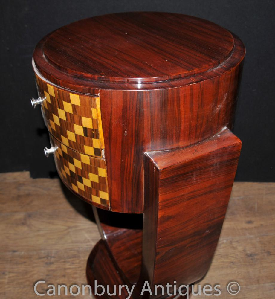 Pair Art Deco Bedside Tables Chests Nightstands Inlay Cabinet