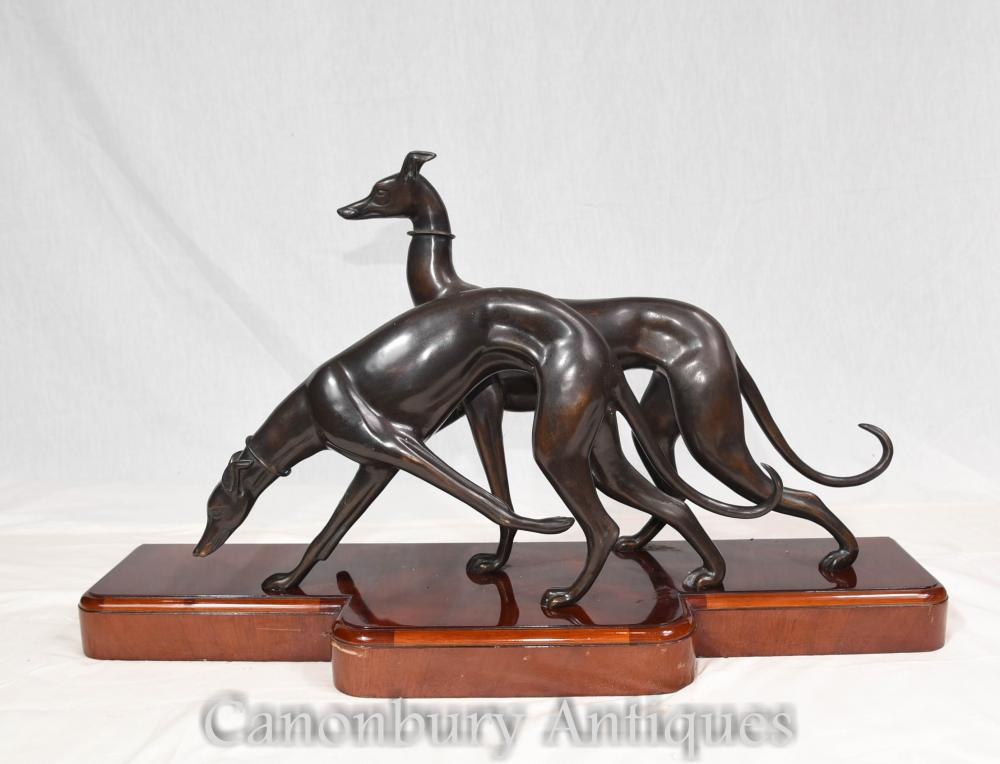 Greyhound Shipping Quote >> Pair Art Deco Bronze Greyhounds Dog Greyhound Mahogany Base