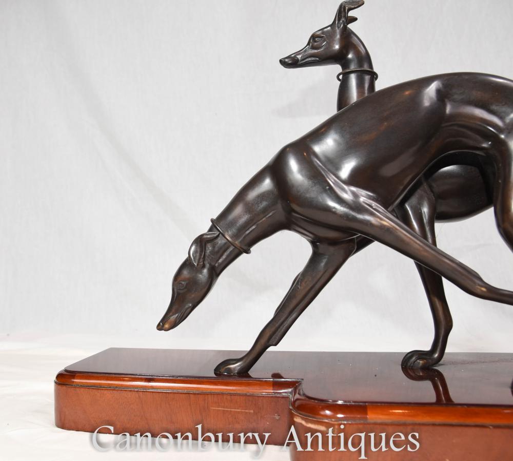 Greyhound Shipping Quote >> Pair Art Deco Bronze Greyhounds Dog Greyhound Mahogany Base