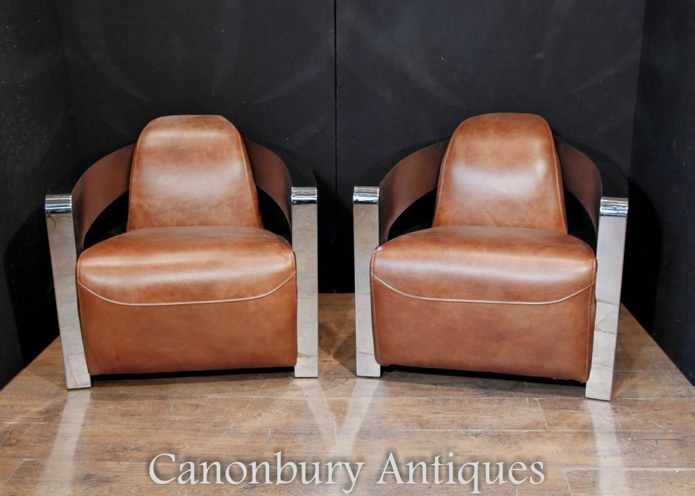 Pair Art Deco Chrome Leather Club Chairs Arm Chair