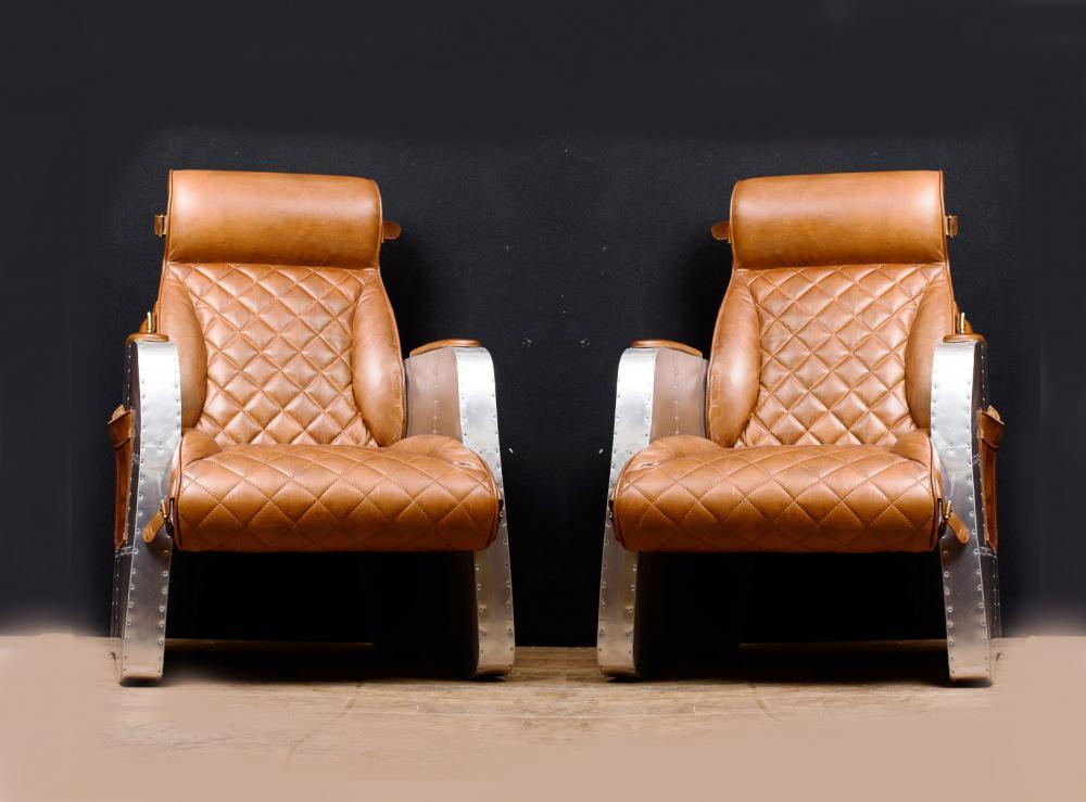 Pair art deco club chairs aviator lounge chair