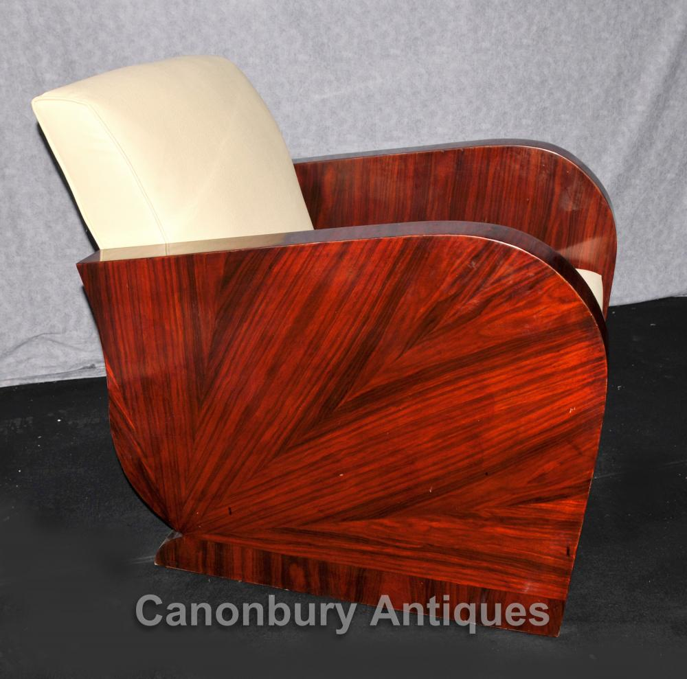Pair Art Deco Club Chairs Rosewood 1920s Arm Chair