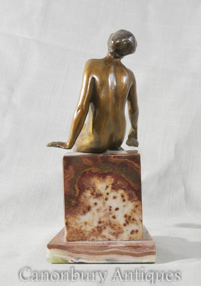 Pair Art Deco Female Figurine Bookends Sculptures Statues