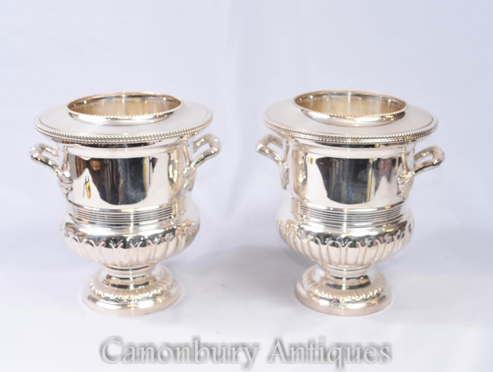 Pair Art Nouveau Silver Plate Wine Champagne Ice Bucket