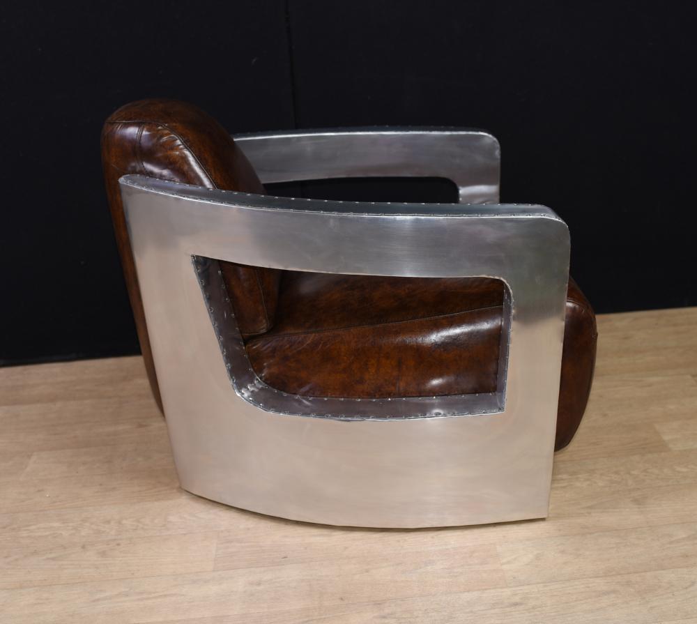 Pair Aviator Art Deco Club Chairs Chrome Leather Arm