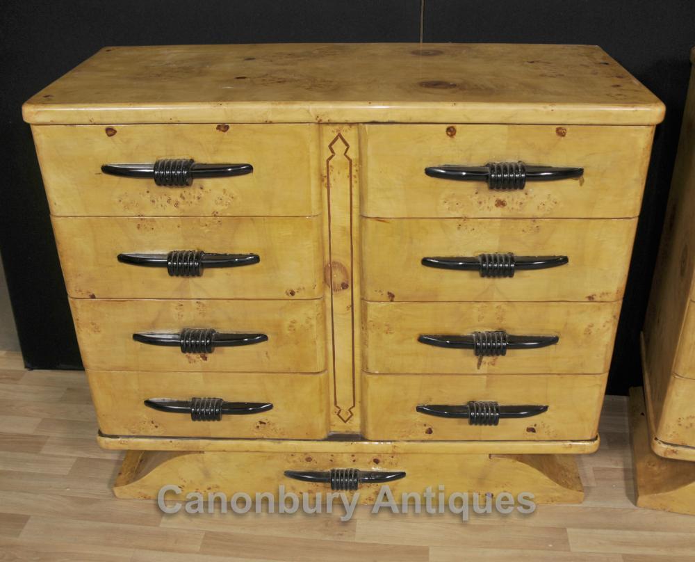 Pair Biedermeier Chests Drawers Birdseye Maple Deco Commmode
