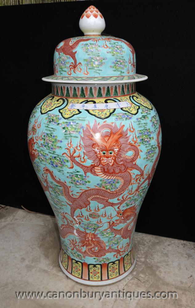 Pair Big Chinese Ming Porcelain Dragon Urns Vases Lidded