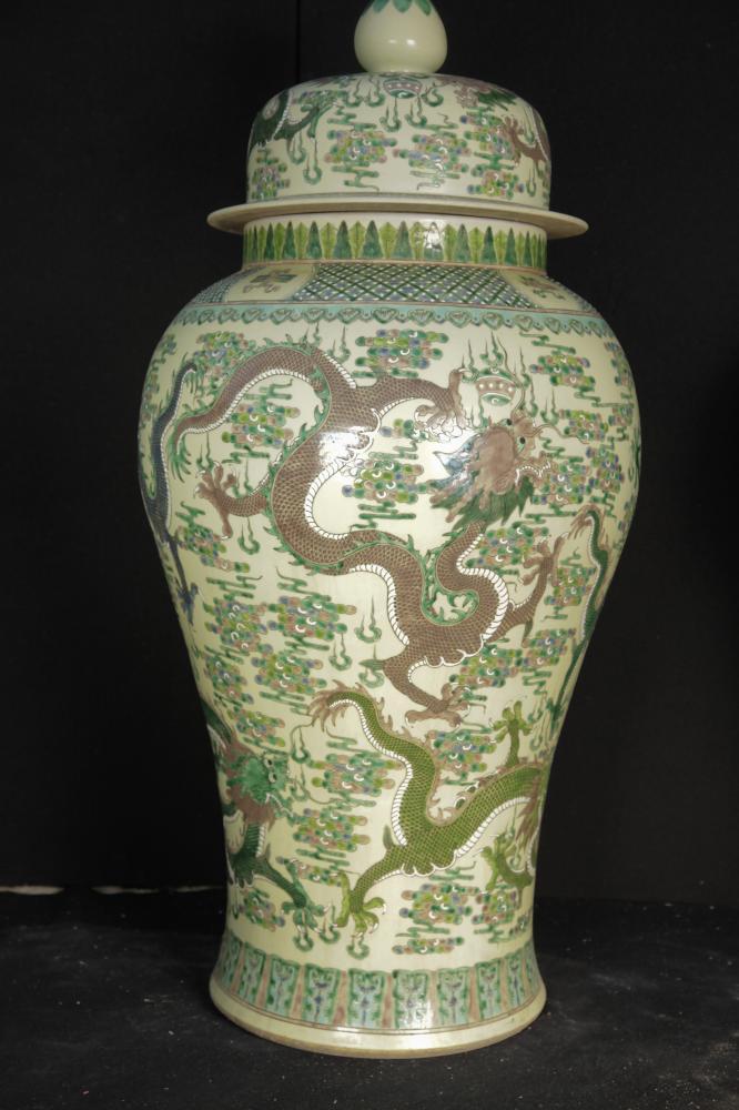Pair Big Chinese Porcelain Dragon Temple Jars Qianlong