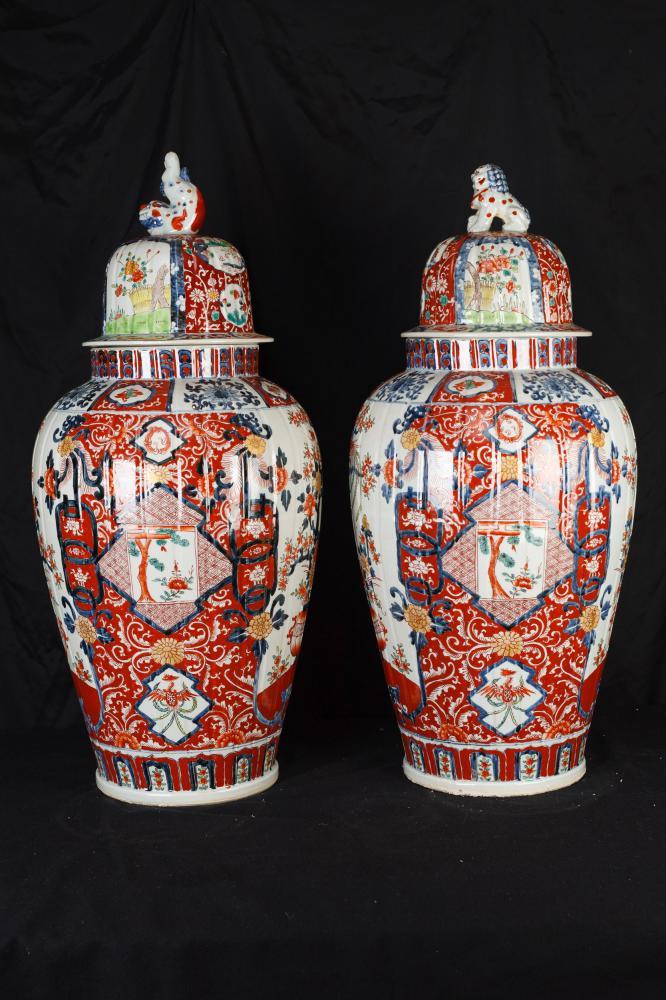 Pair Big Japanese Imari Porcelain Vases Urns Temple Ginger Jars