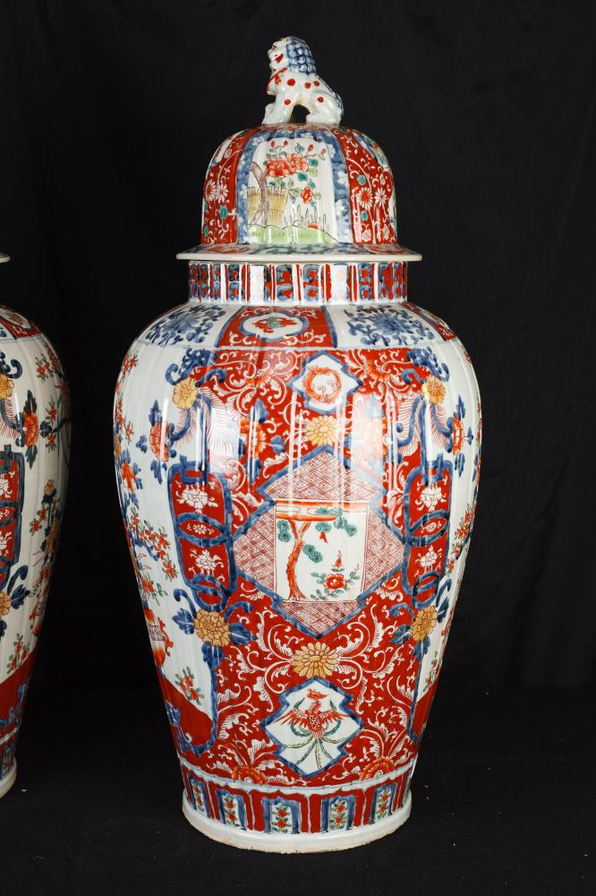 Pair Big Japanese Imari Porcelain Vases Urns Temple Ginger