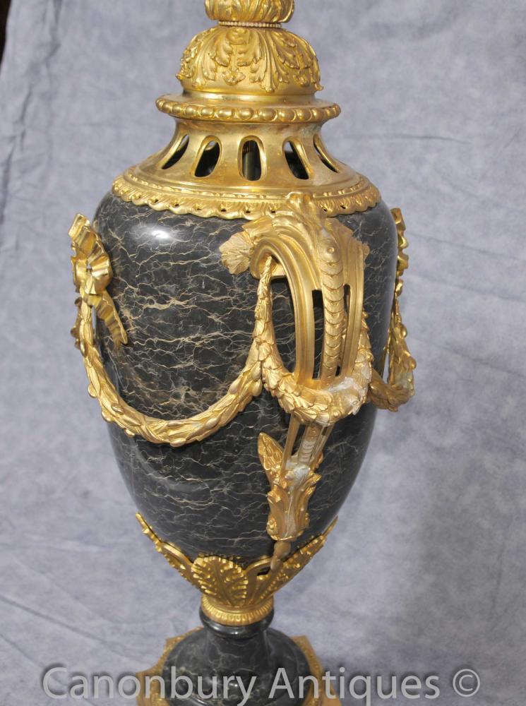 Pair Big Louis Xvi Marble Urns Candelabras Gilt Ormolu