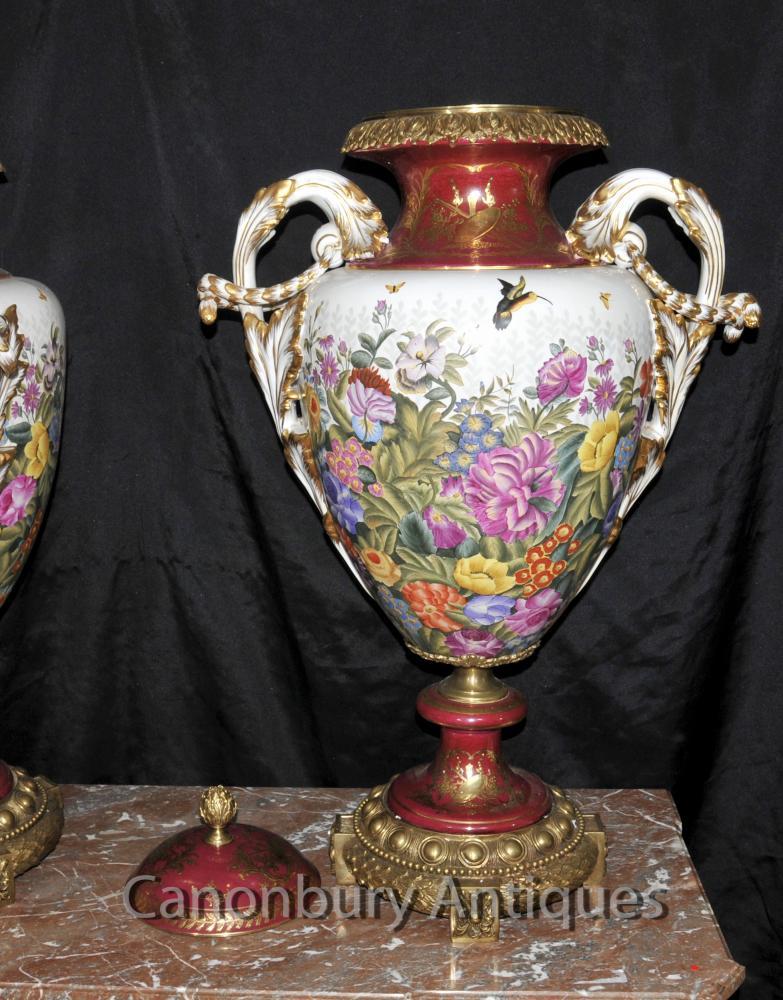 Pair Big Sevres Porcelain Urns Tropical Floral Spray French Vases