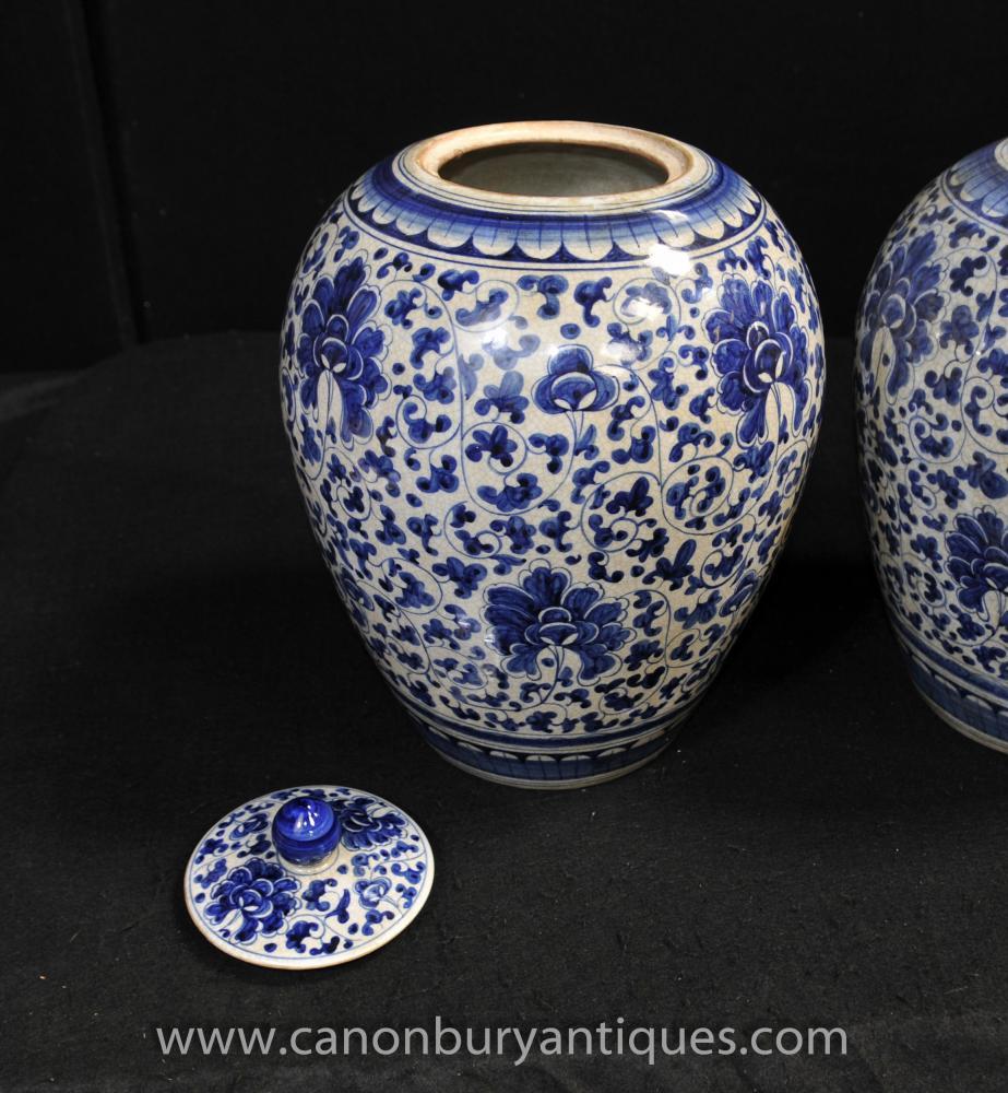 Pair Blue and White Chinese Porcelain Lidded Urns Vases ...