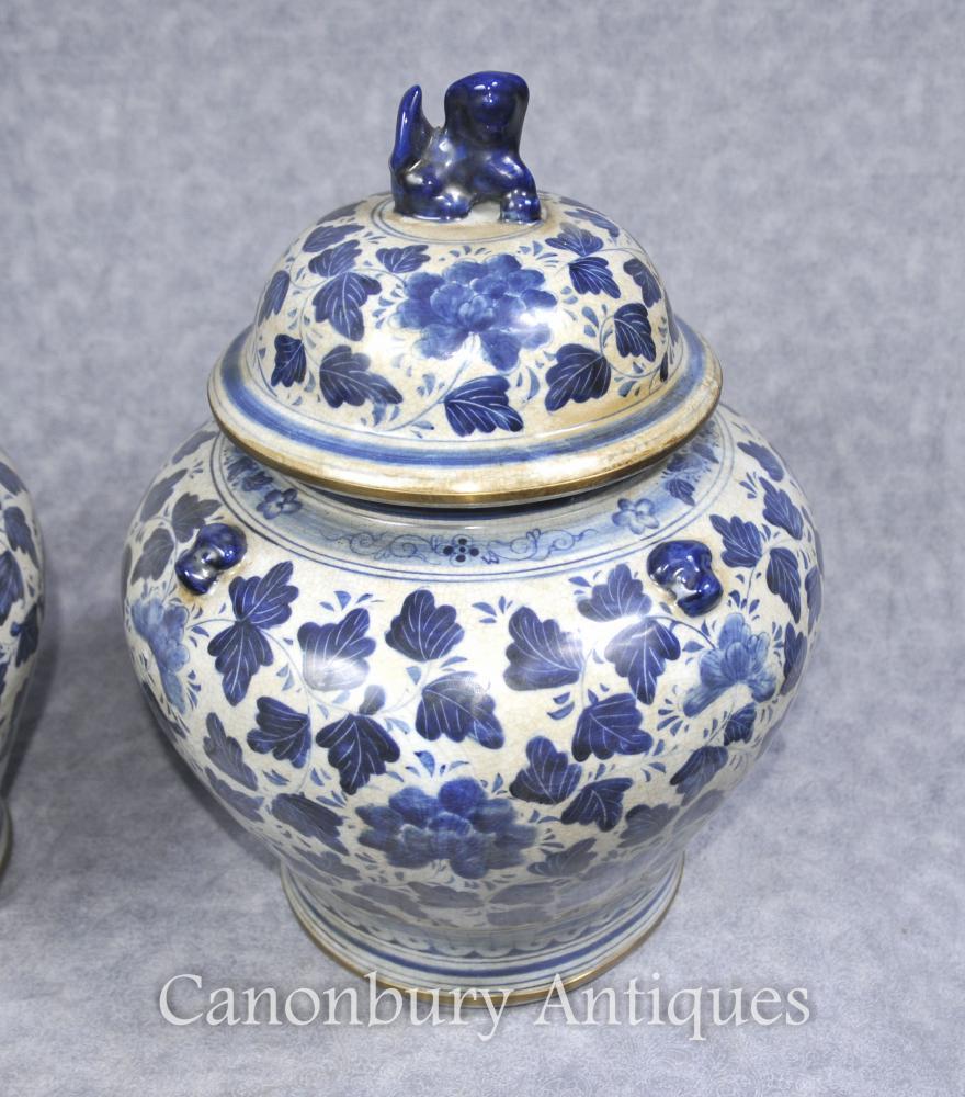 Pair Blue And White Chinese Porcelain Lidded Urns Vases