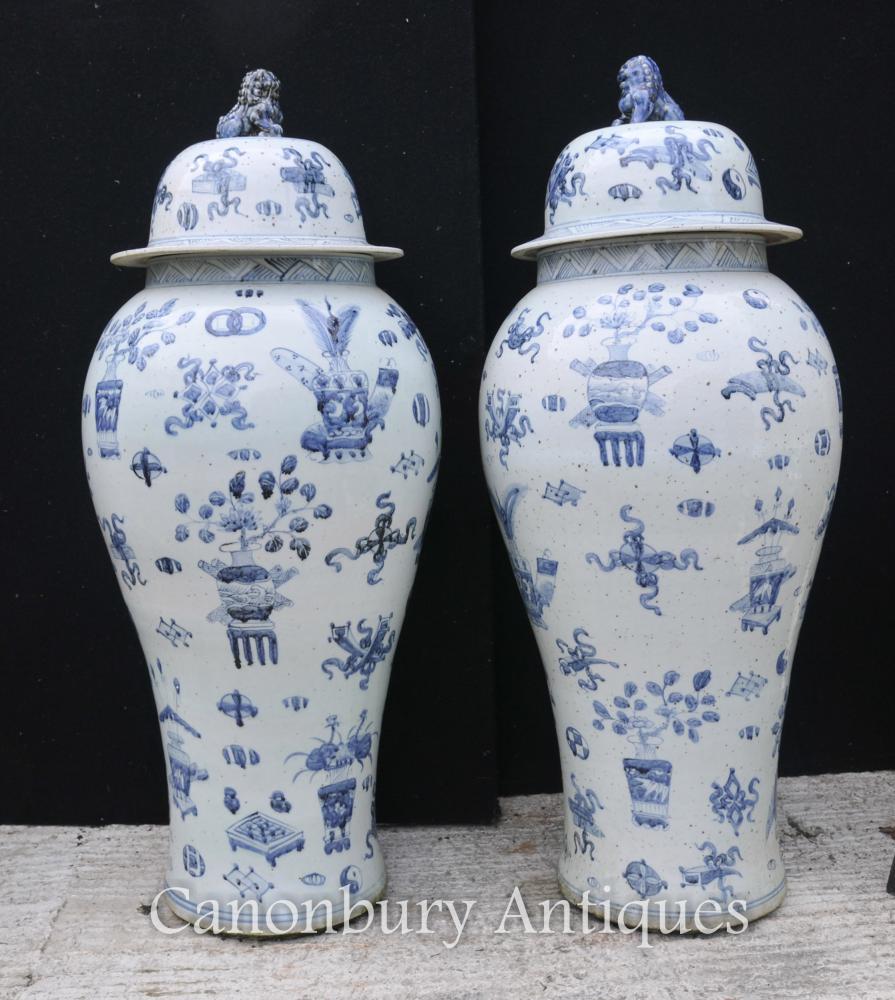 Pair Blue And White Nanking Ceramic Lidded Urns Vases