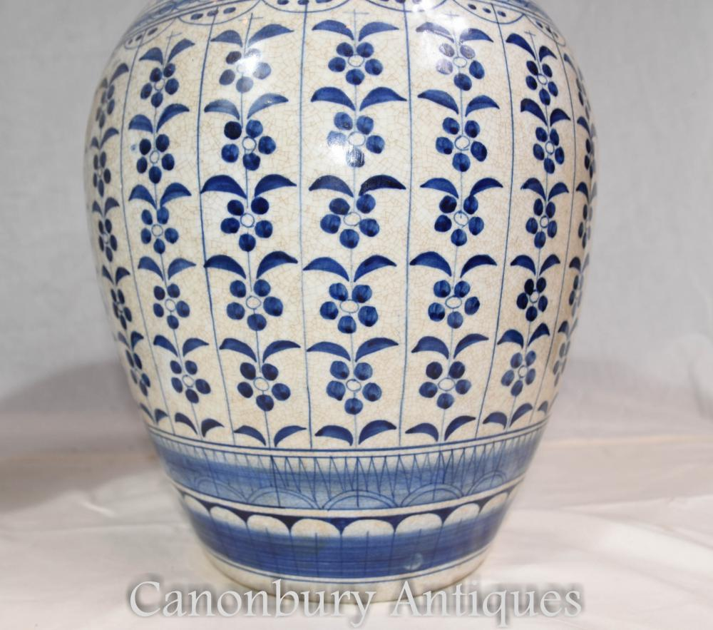 Pair Blue And White Porcelain Ming Lidded Urns Vases Pots
