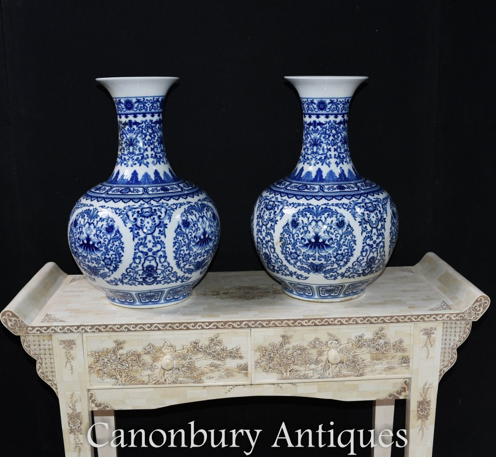 Pair Blue And White Porcelain Vases Chinese Ming Temple Urns