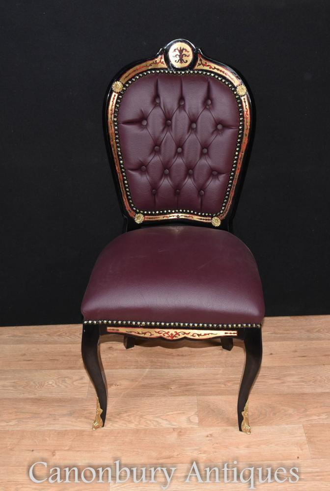 Pair Boulle Inlay Accent Side Chairs Louis Xvi Furniture