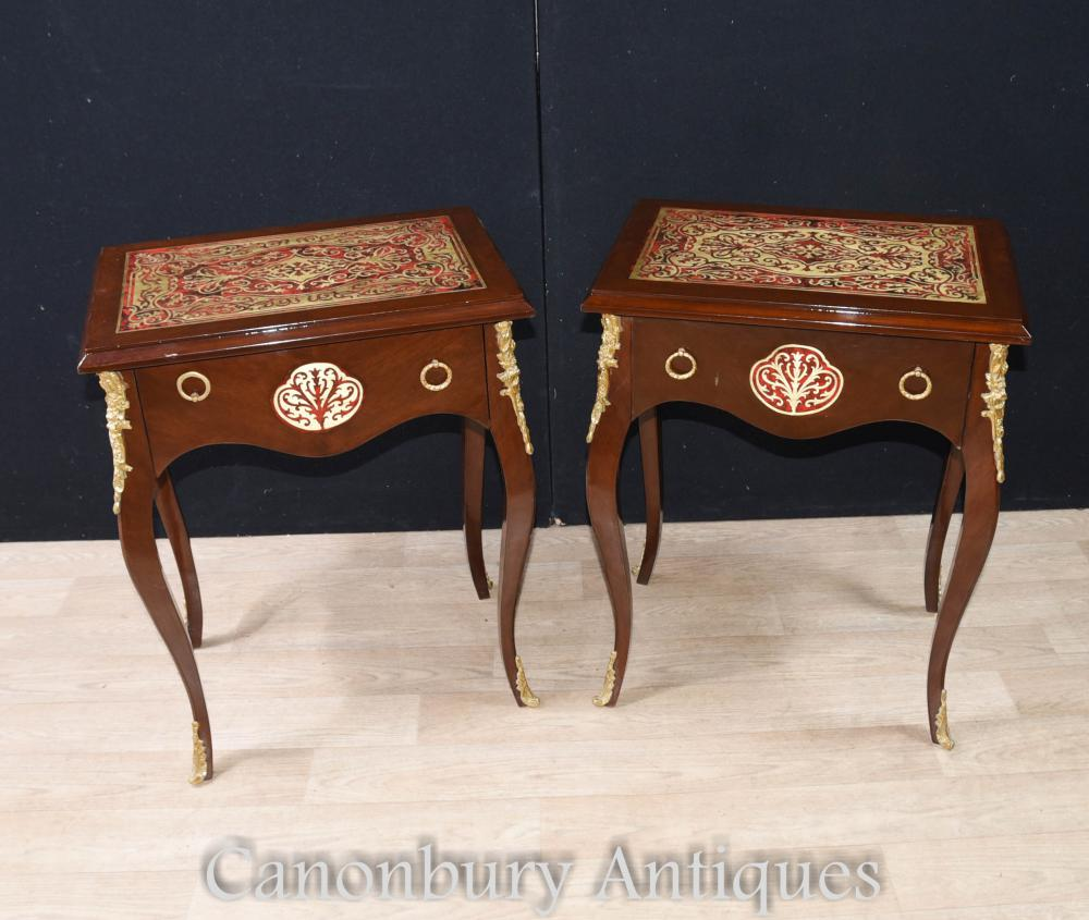 French furniture - Pair Boulle Inlay Side Tables Cocktail Table French Furniture
