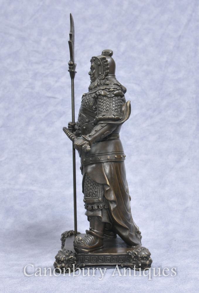 Pair Bronze Japanese Samurai Warrior Statues Military Art