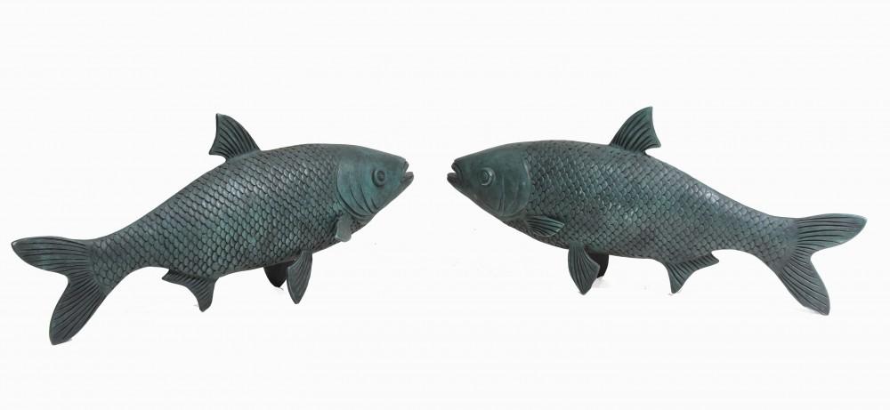 Paar Bronze Koi Karpfen Fisch Statuen Verdis Gris
