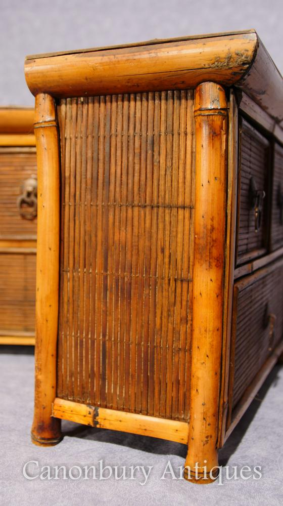 antique mini pair chinese antique bamboo chest drawers mini travelling samples