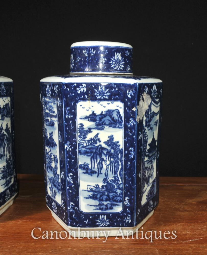 Pair Chinese Blue And White Nanking Porcelain Lidded Urns