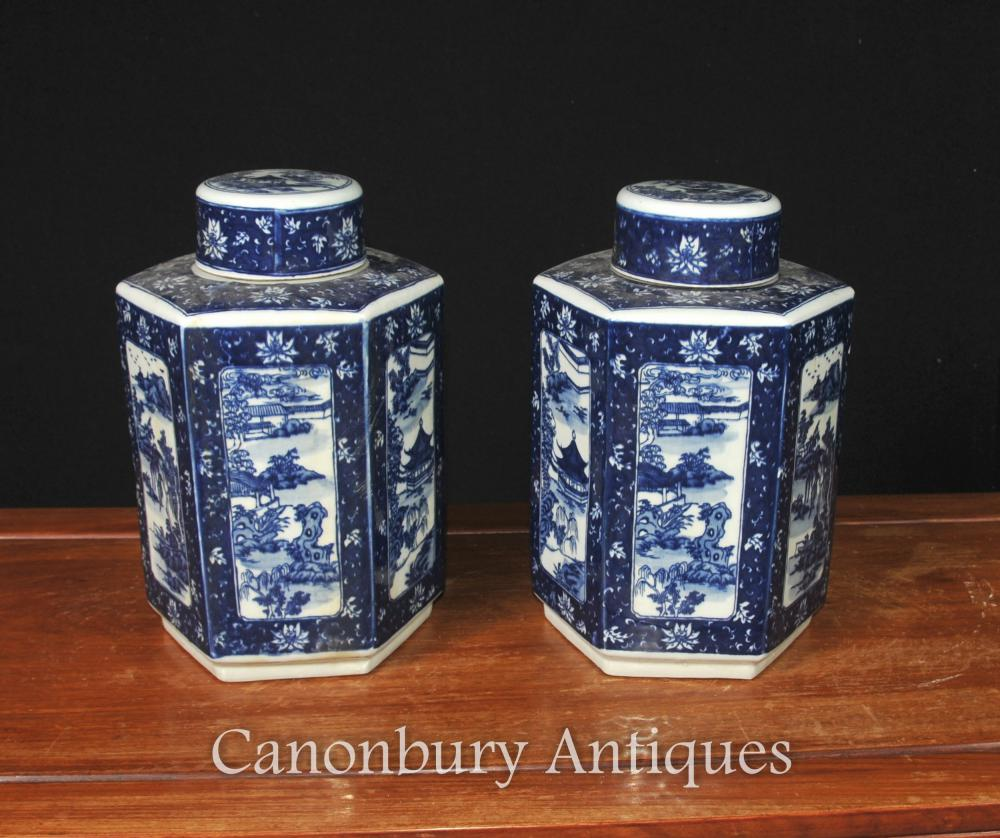 Pair Chinese Blue And White Porcelain Urns Nanking Vases Lidded Jars