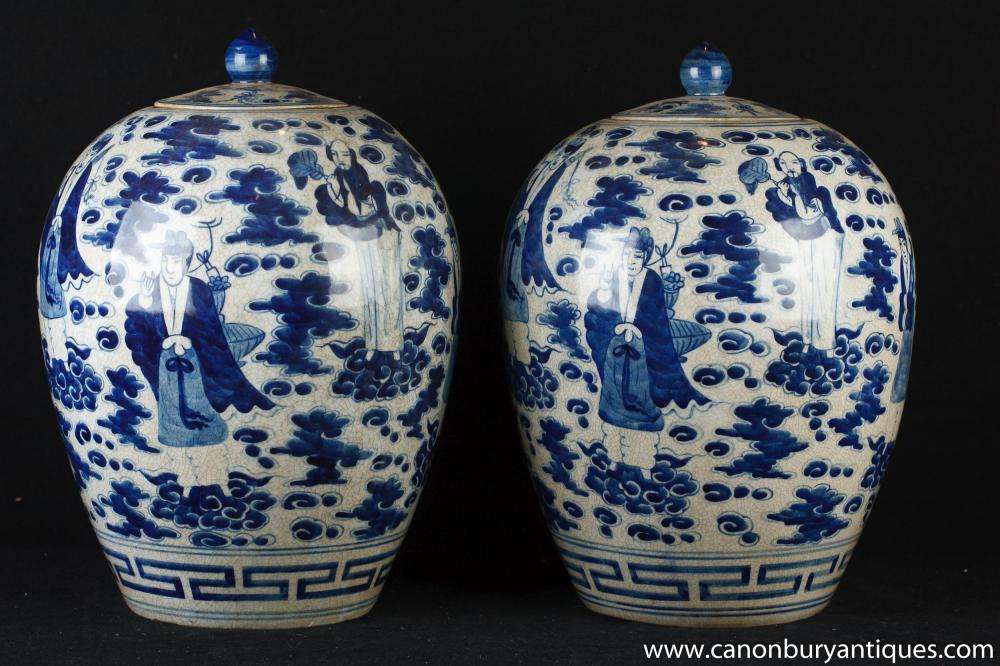 Pair Chinese Blue And White Nanking Porcelain Urns Vases