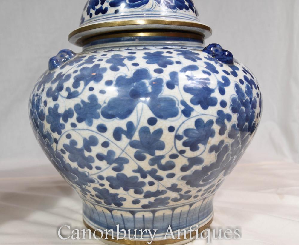 Pair Chinese Blue And White Porcelain Lidded Urns Vases