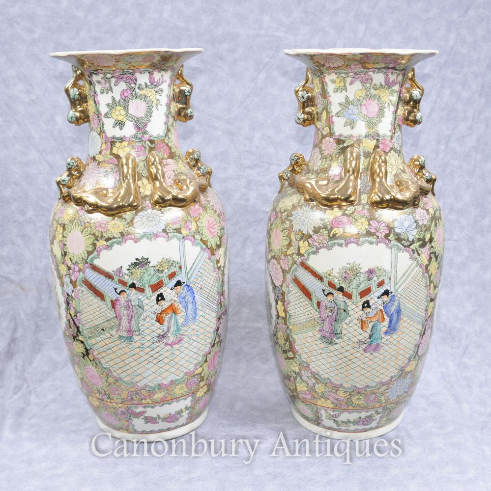 Pair Chinese Cantonese Porcelain Vases Urns Hand Painted Canton