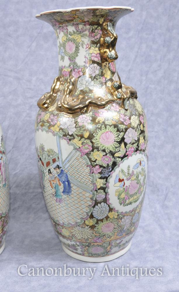 Pair Chinese Cantonese Porcelain Vases Urns Hand Painted
