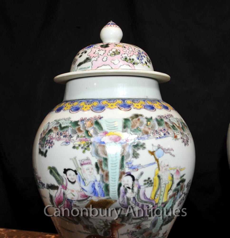 Pair Chinese Celadon Porcelain Ginger Jars Lidded Urns Vases