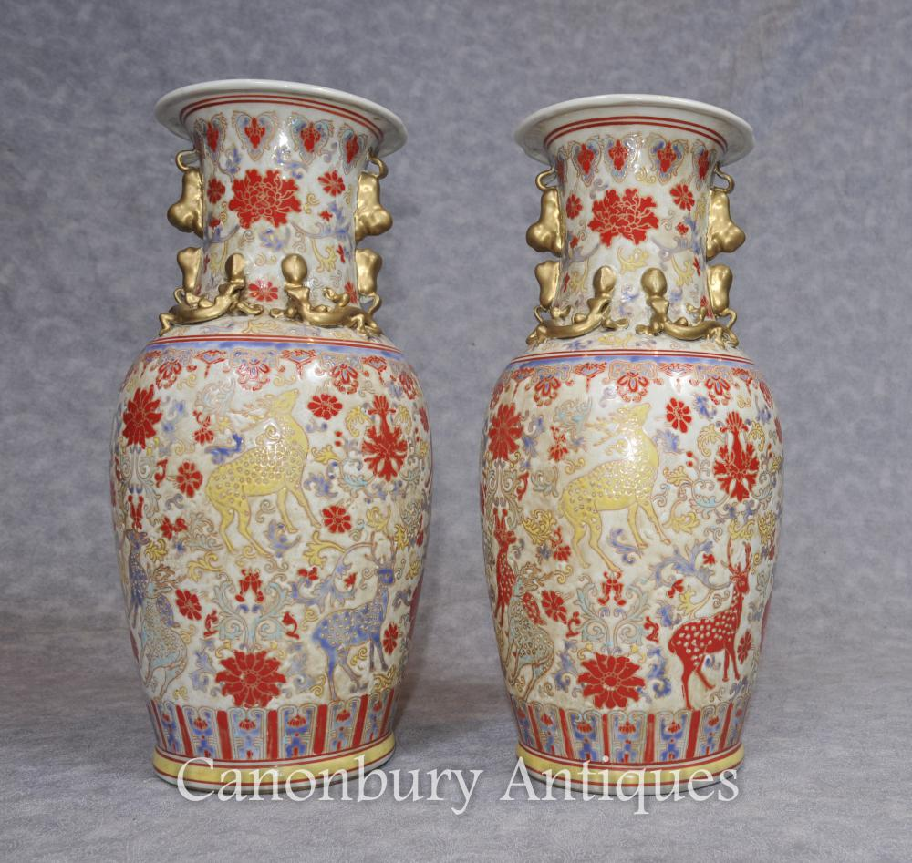 Pair Chinese Celadon Porcelain Vases Urns Hand Painted Deer