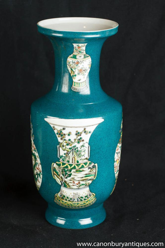 Pair Chinese Ceramic Celadon Porcelain Vases Urns