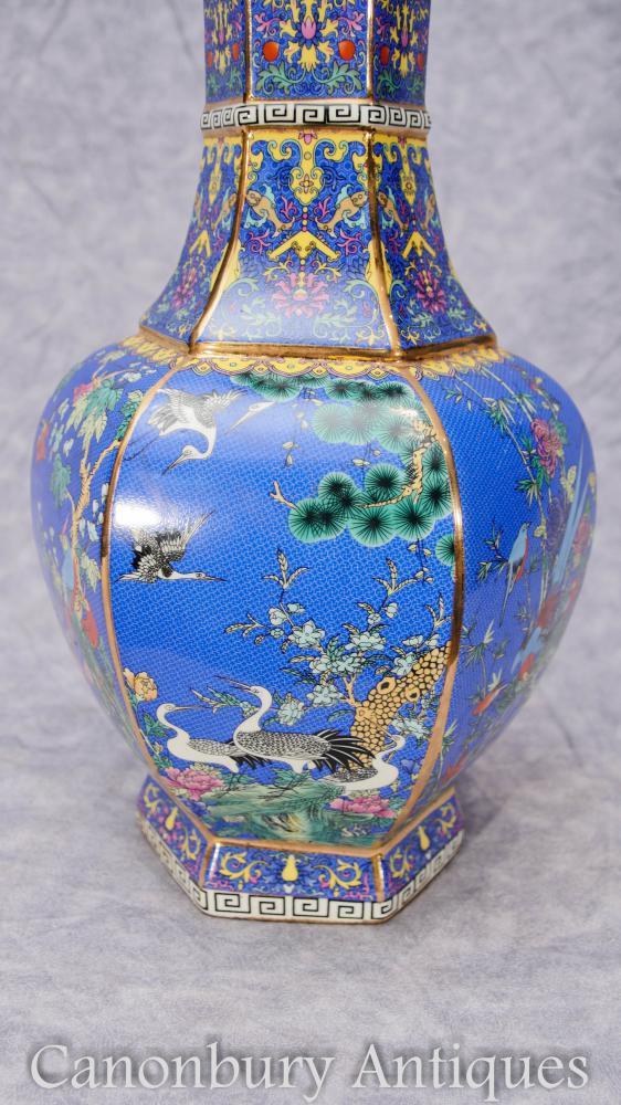Pair Chinese Export Qing Kangxi Porcelain Vases Urns Birds