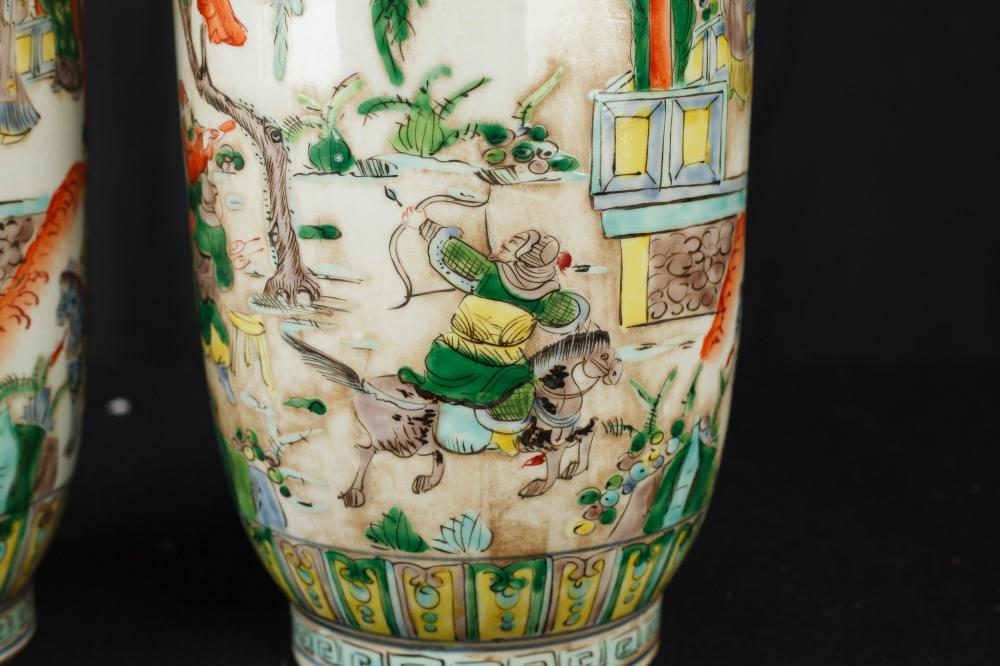 Pair Chinese Famille Verte Hand Painted Porcelain Vases