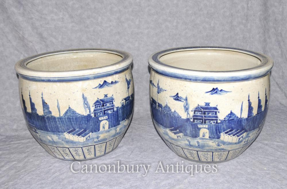 Pair Chinese Kangxi Porcelain Blue And White Planters Pots Ebay