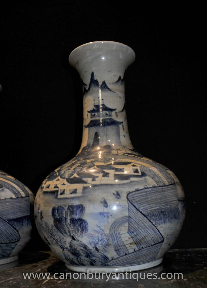 Pair Chinese Ming Bulbous Urns Vases Blue And White
