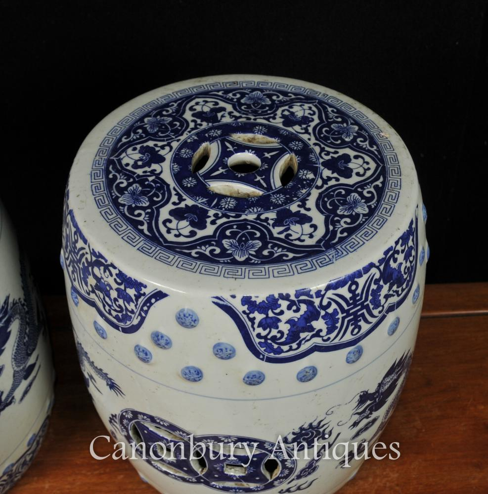 Pair Chinese Nanking Blue And White Porcelain Garden