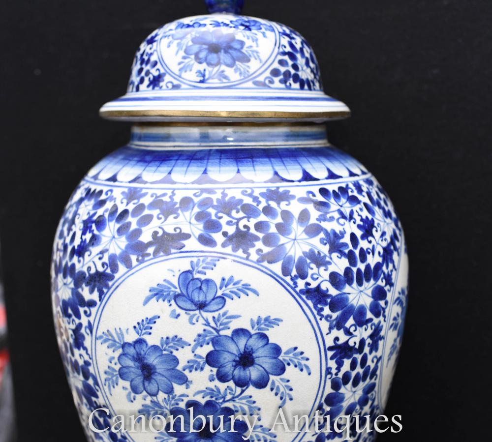Pair Chinese Nanking Blue and White Porcelain Temple Jars ...