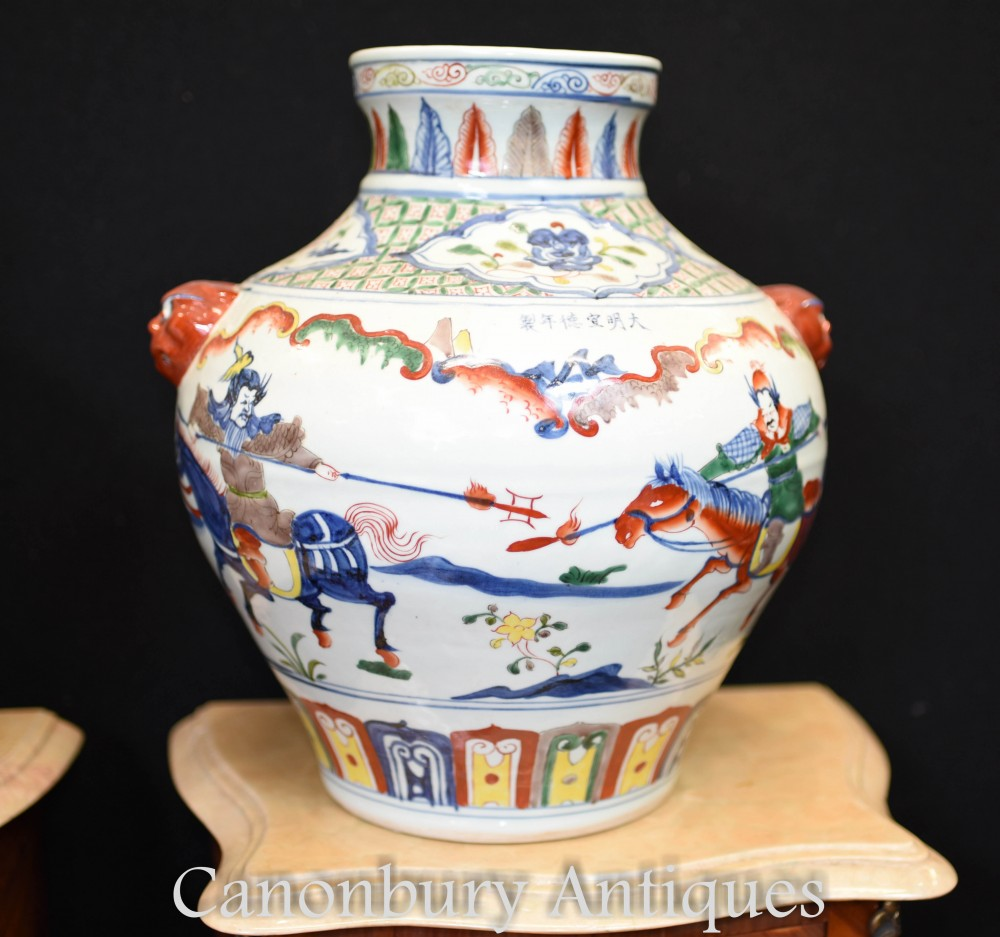 Pair Chinese Porcelain Vases Qianlong China Urns Hand