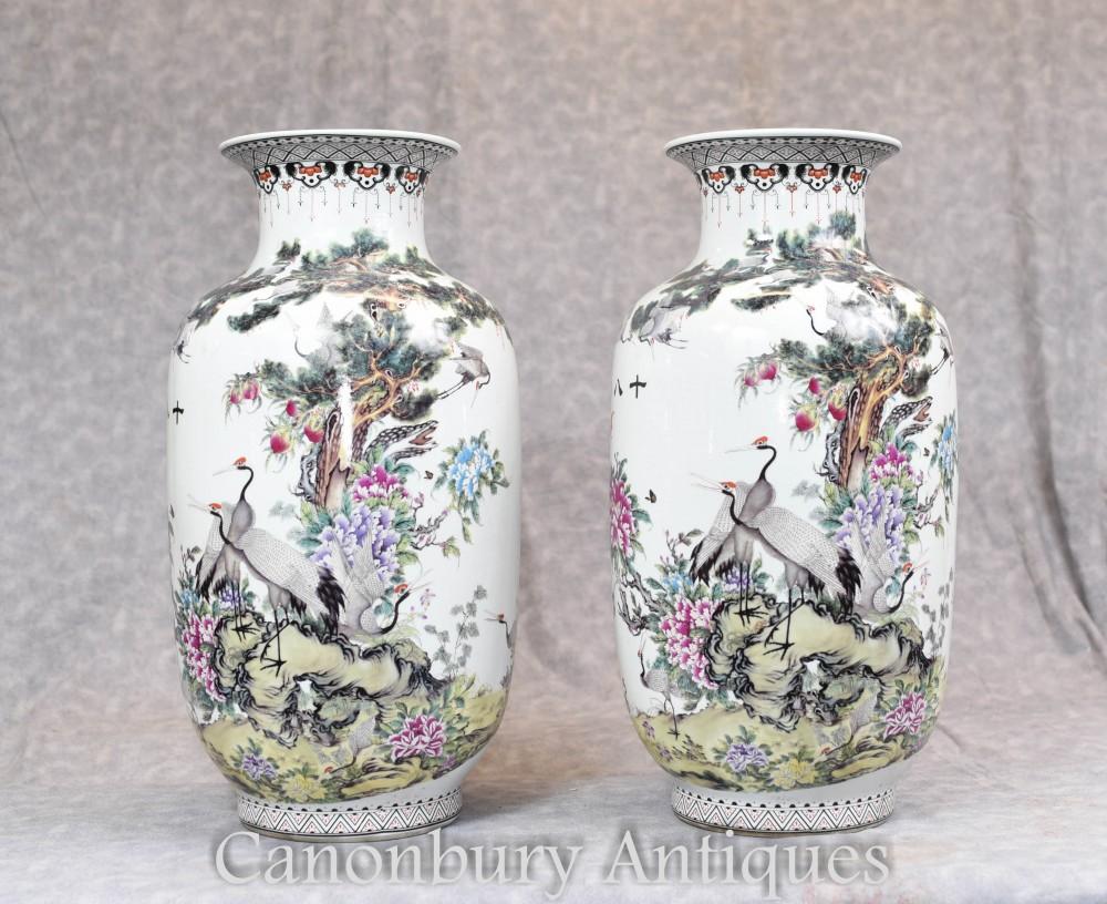 Pair Chinese Qianjiang Porcelain Vases Urns Crane Stork