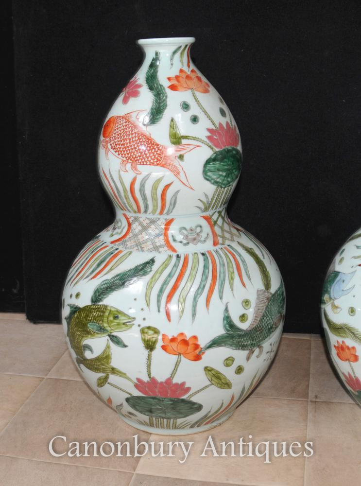 Pair Chinese Qianlong Porcelain Vases Urns Double Gourd Ceramic