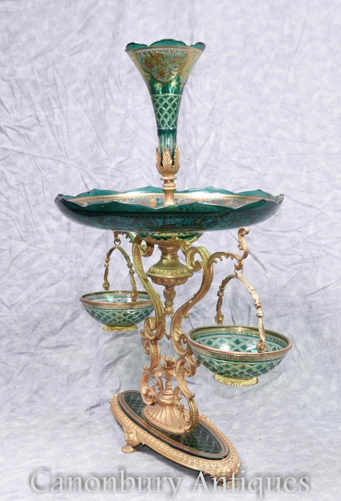 Single cut glass french empire epergne centrepiece stand