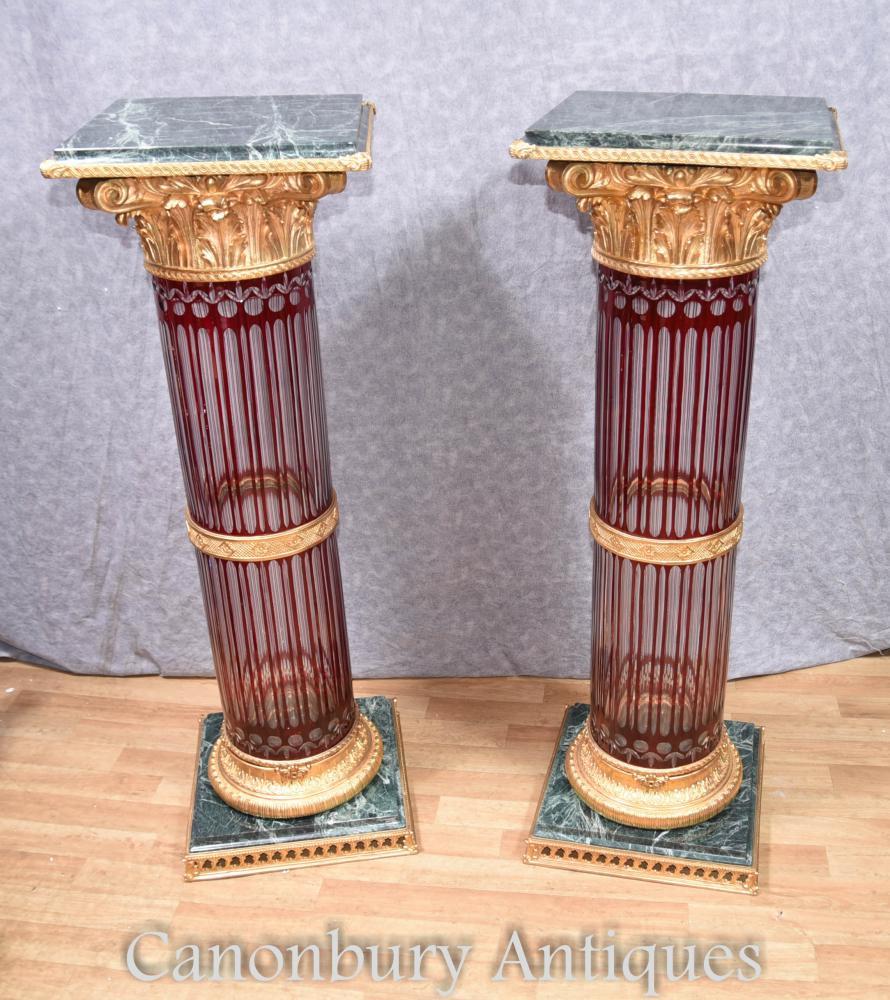 Pair cut glass french pedestal stand tables empire corinthian columns reviewsmspy