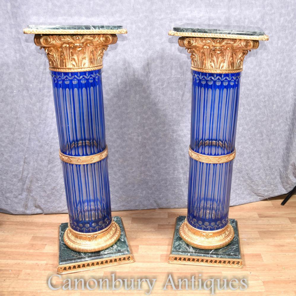 Pair Empire Cut Glass Corinthian Column Pedestal Stands Tables