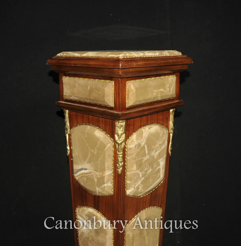 Pair empire marble pedestal stand tables column table for Table column
