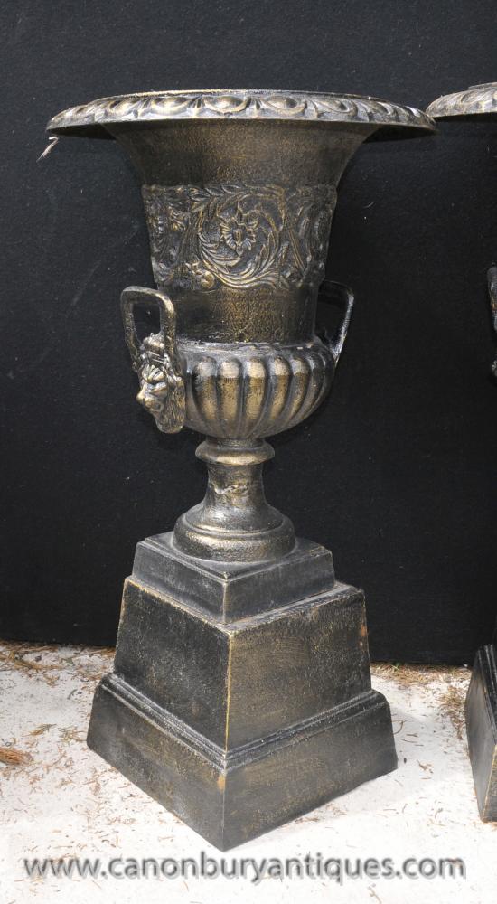 Pair English Cast Iron Campana Garden Urns Pedestal Base
